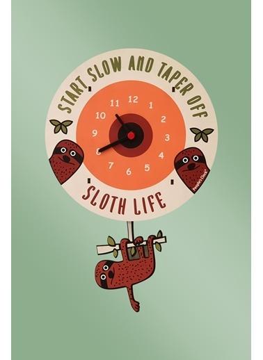 Peoples Clock Tembel Sloth Sallanan Sarkaçlı Çocuk Odası Duvar Saati Renkli